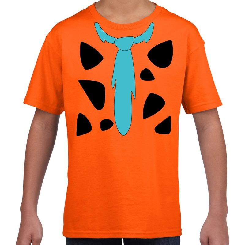 Fred holbewoner kostuum t-shirt oranje voor kinderen
