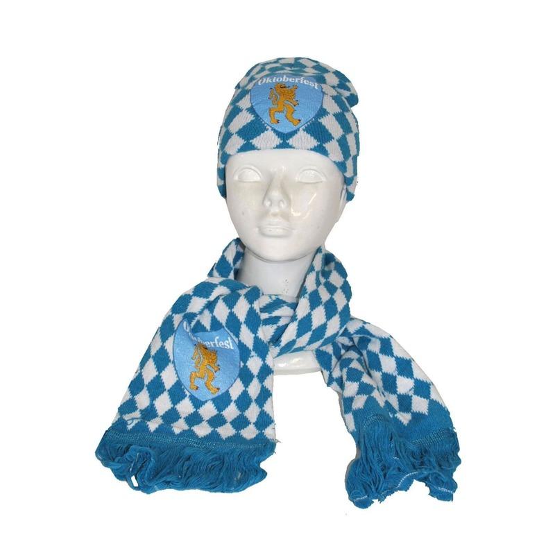 Gebreide sjaal en muts in Beieren motief