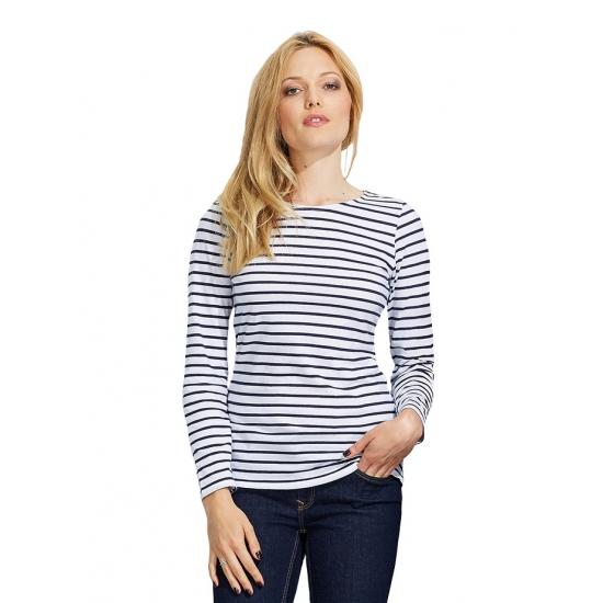 Gestreept dames matrozen t-shirt wit/blauw