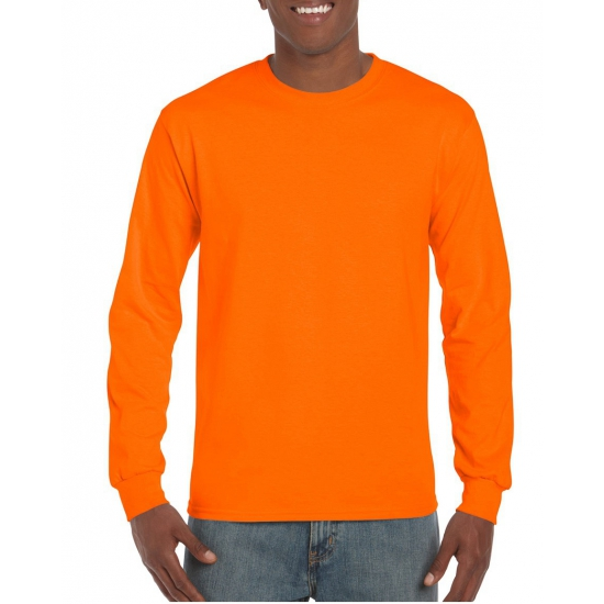 Gildan t-shirt lange mouw fluor oranje