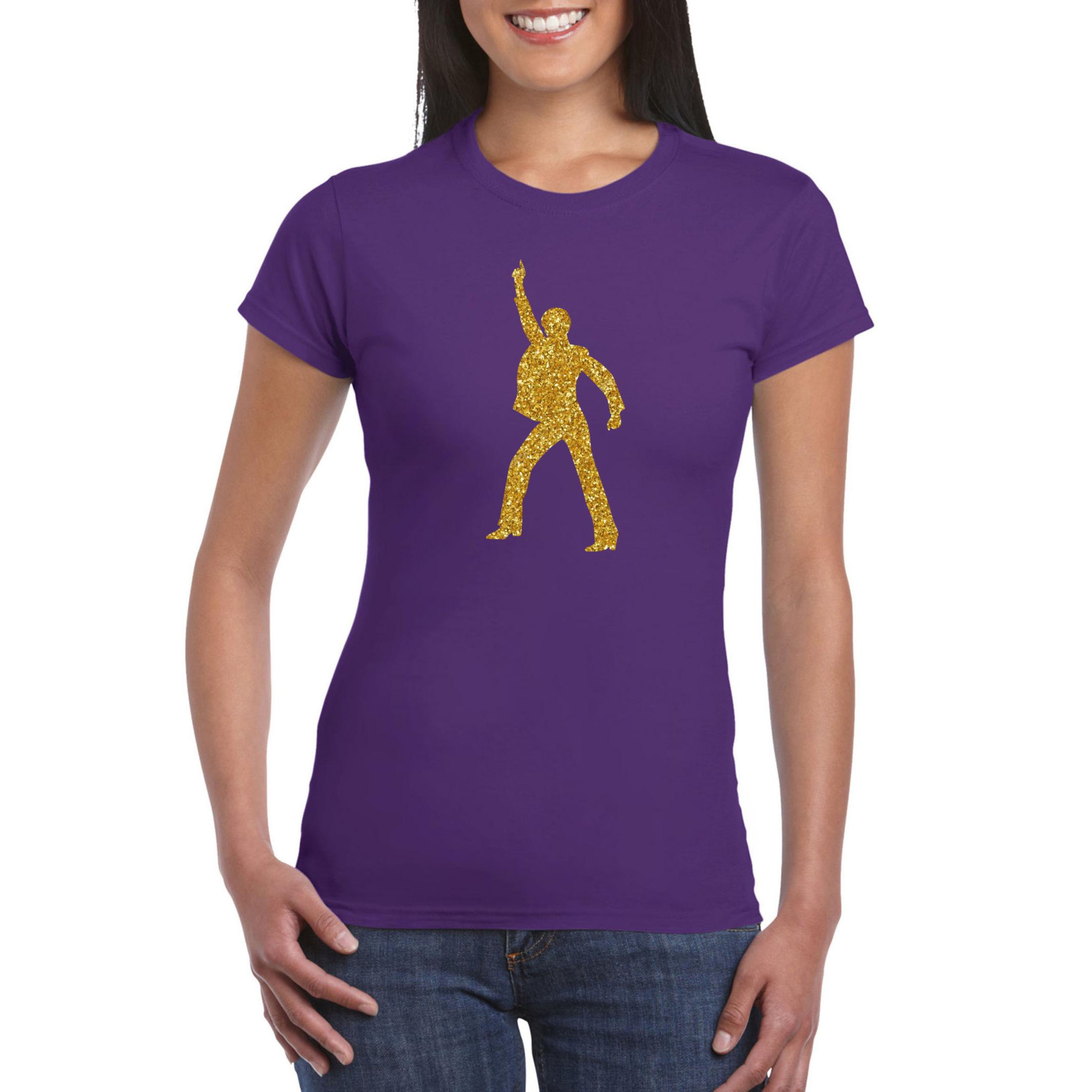 Gouden disco t-shirt - kleding paars voor dames