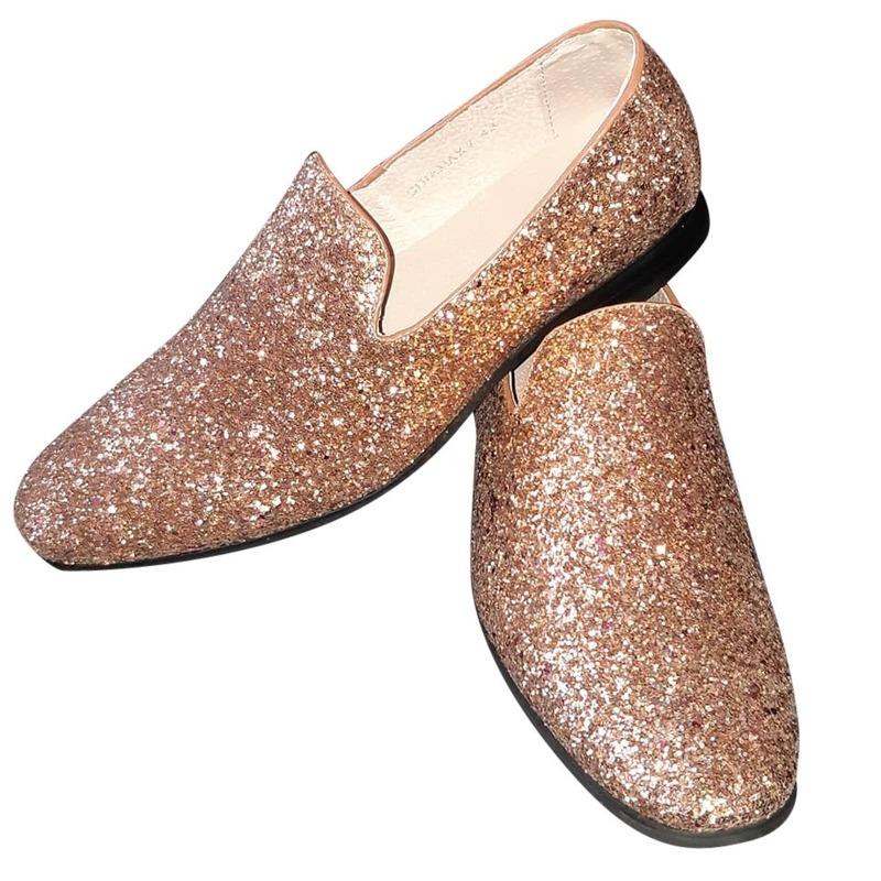 Gouden glitter disco instap schoenen voor heren