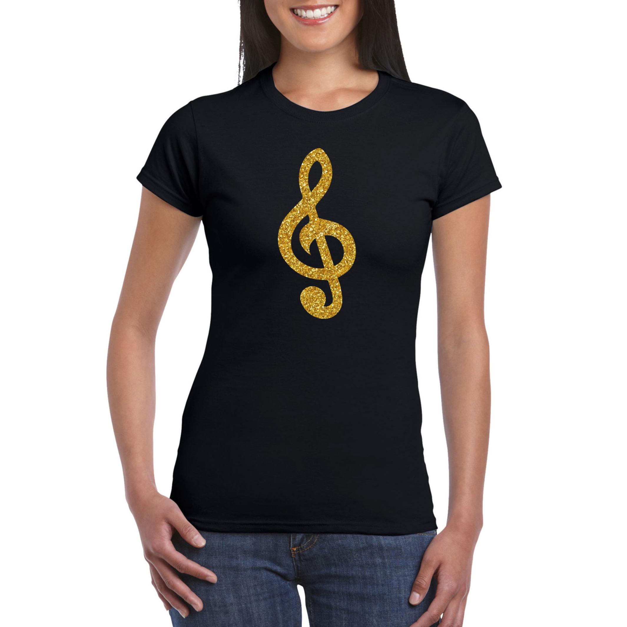 Gouden muziek noot G-sleutel - muziek feest t-shirt - kleding zwart dames
