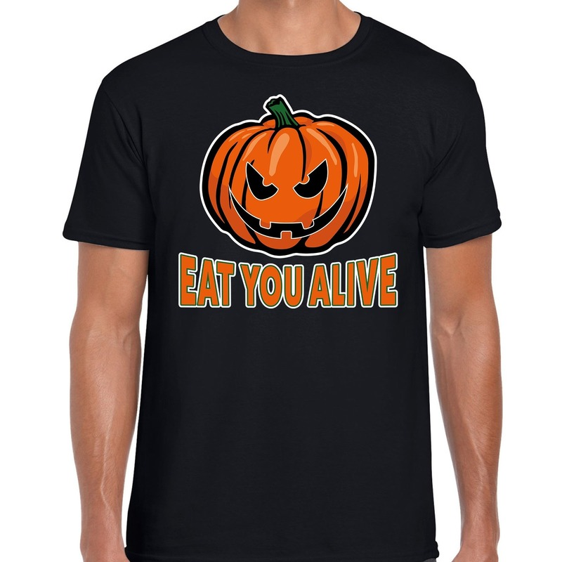 Halloween Eat you alive verkleed t-shirt zwart voor heren