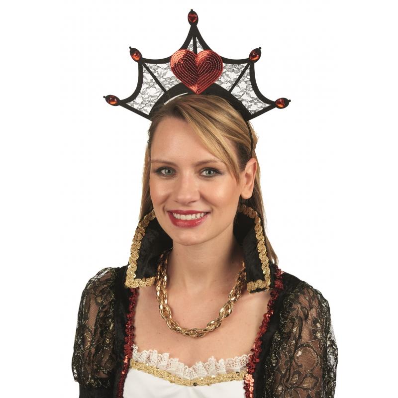 Hartenkoningin kroon aan diadeem