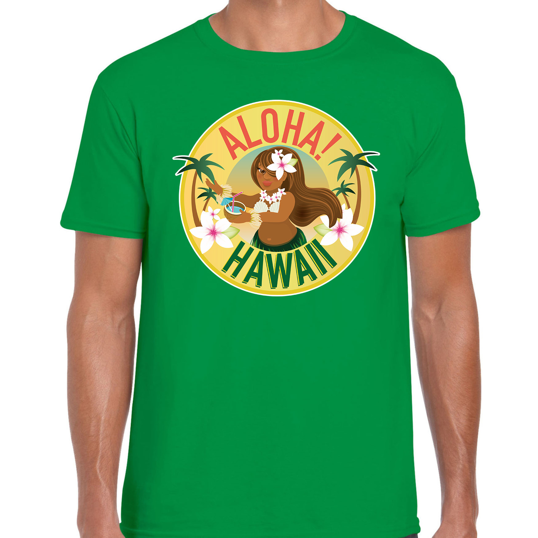 Hawaii feest t-shirt - shirt Aloha Hawaii groen voor heren