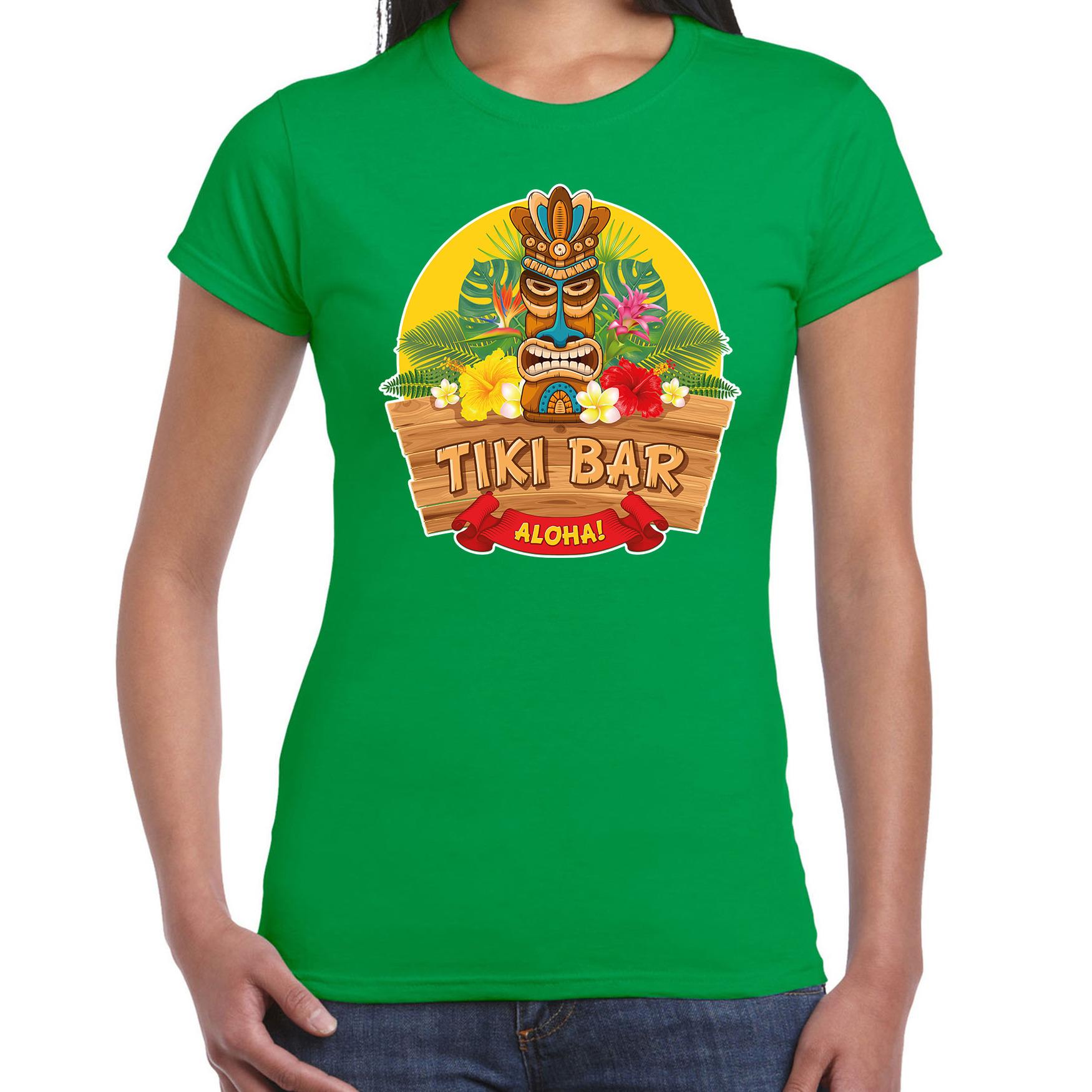 Hawaii feest t-shirt - shirt tiki bar Aloha groen voor dames