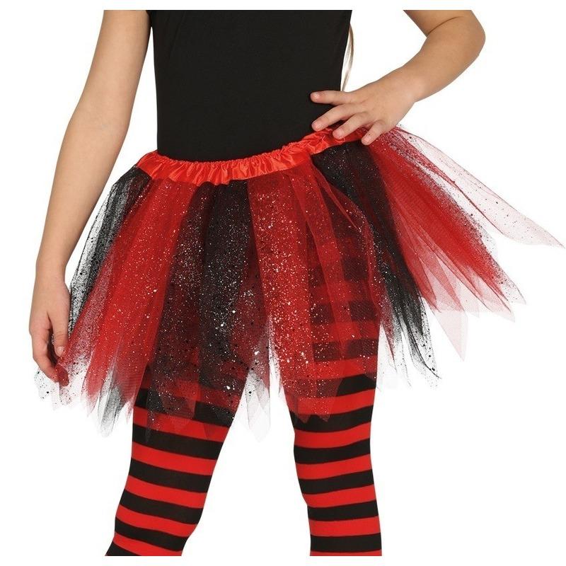 Heksen verkleed petticoat/tutu zwart/rood glitters voor meisjes