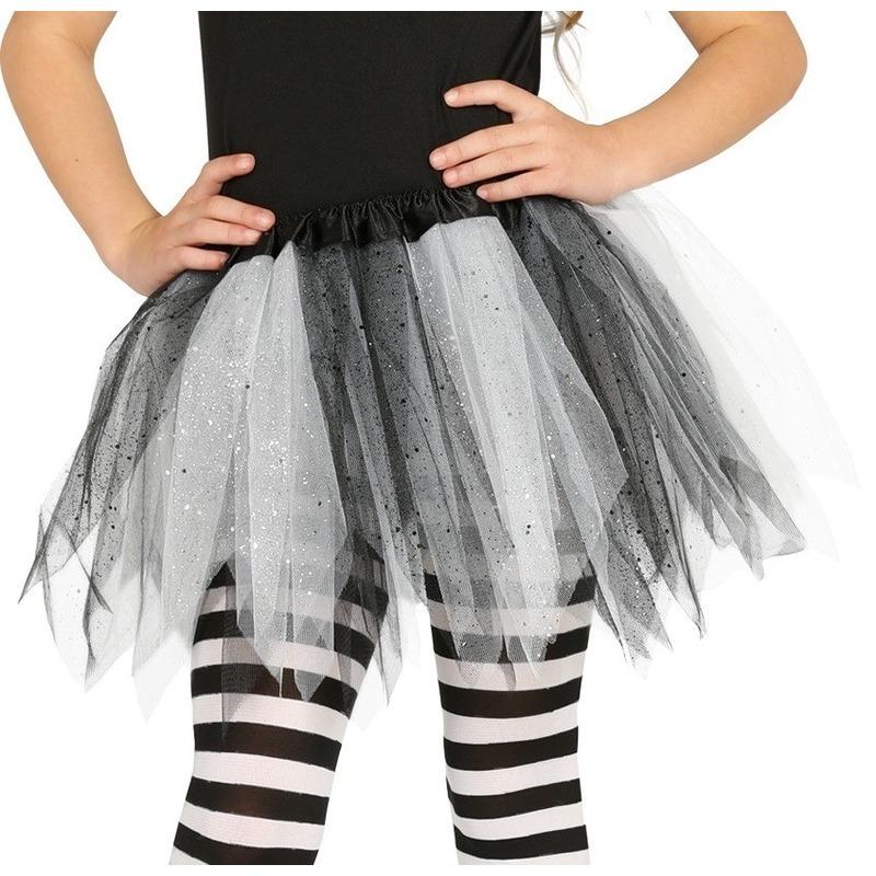 Heksen verkleed petticoat/tutu zwart/wit glitters voor meisjes