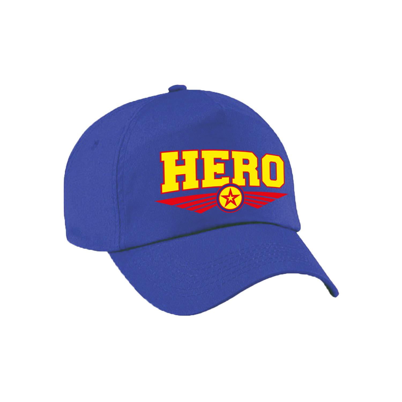 Hero - held tekst pet - baseball cap blauw voor kinderen