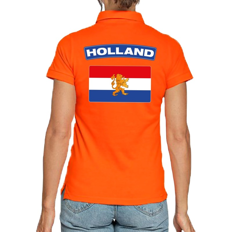 Holland supporter poloshirt oranje voor dames