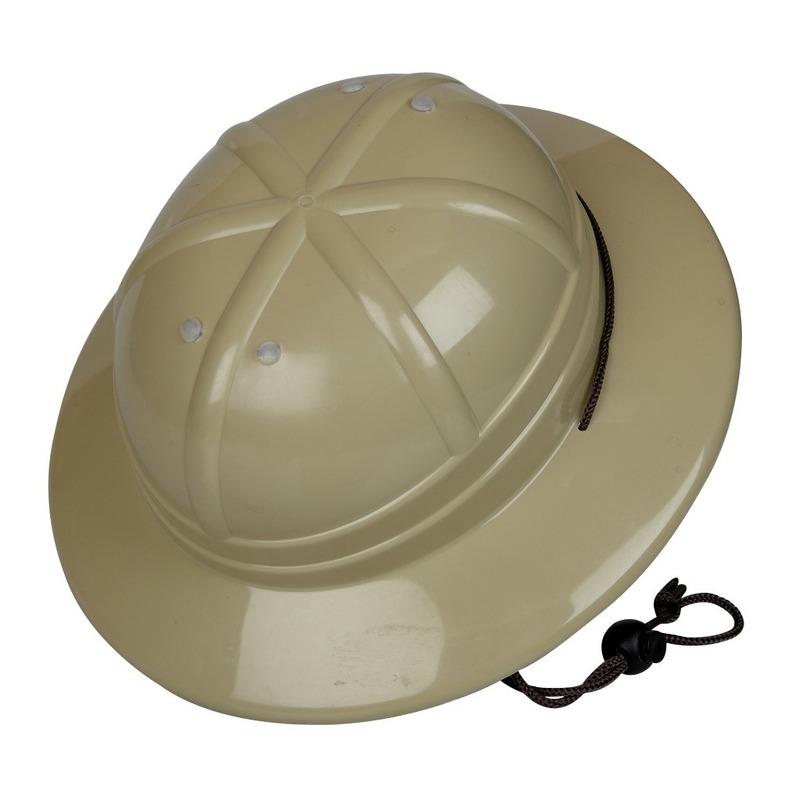 Kaki safari verkleed helm voor kinderen