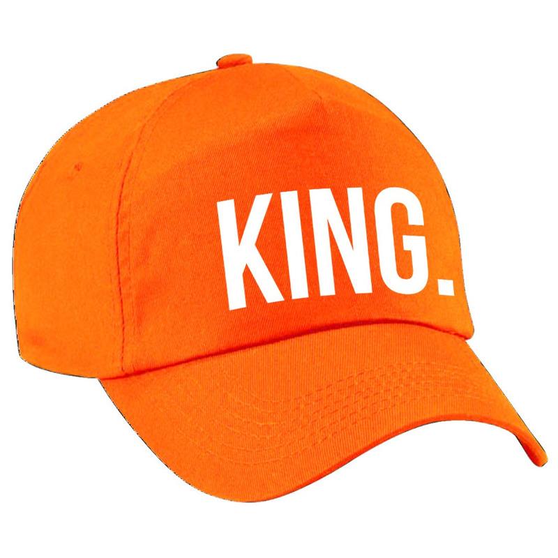 King pet - cap oranje met witte bedrukking voor jongens