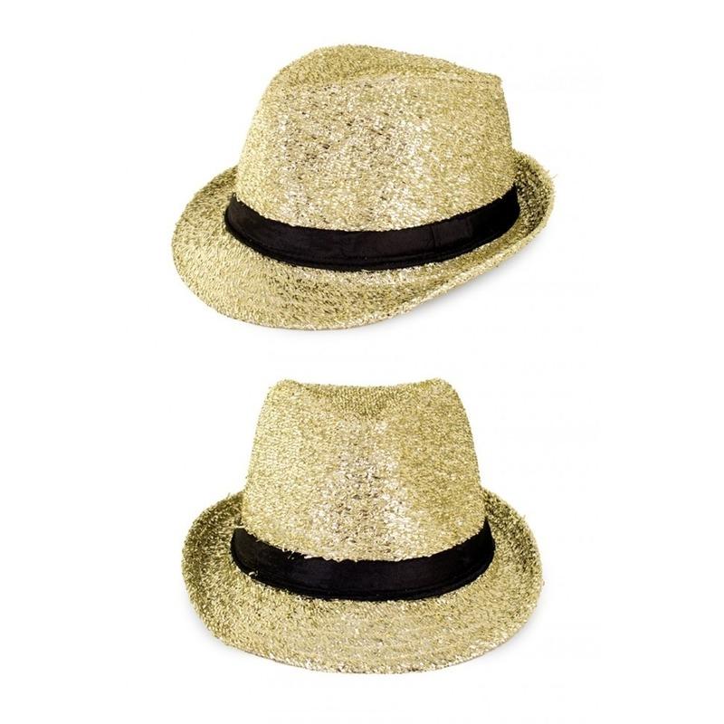 Kojak verkleed hoedje goud met glitters