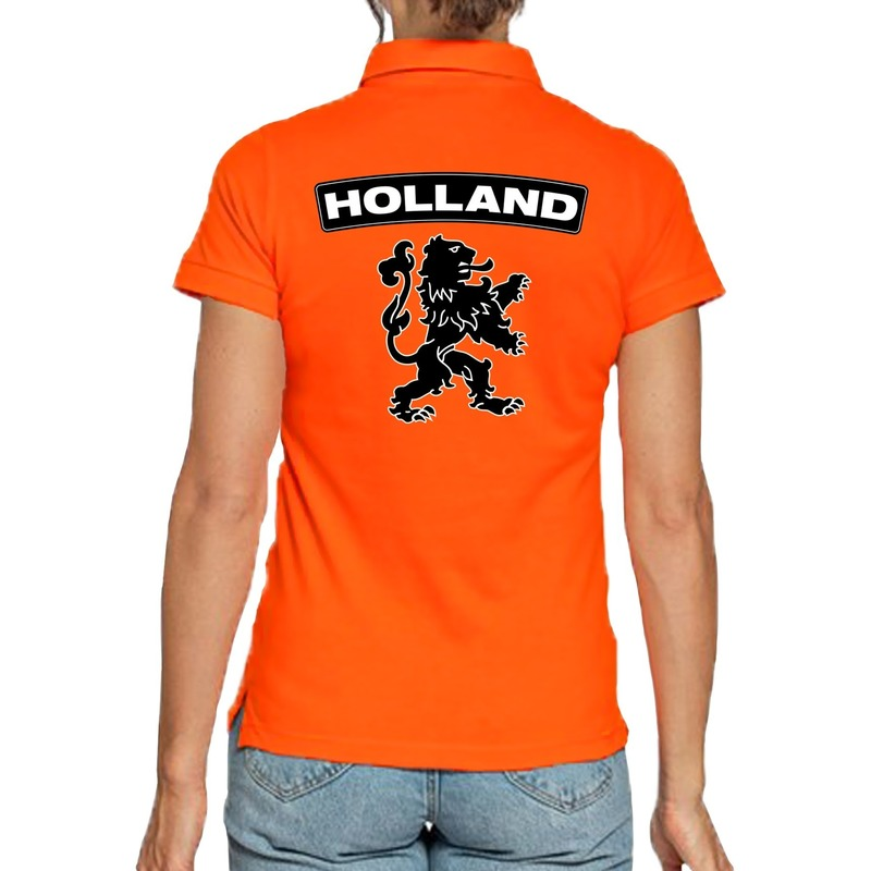 Koningsdag poloshirt Holland met grote leeuw oranje voor dames