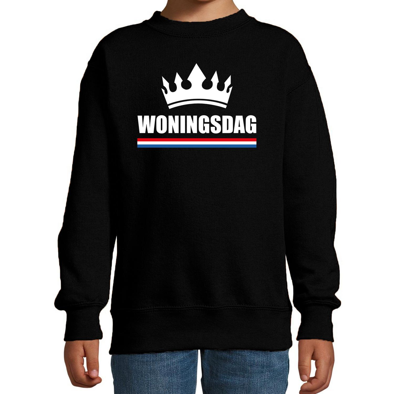 Koningsdag sweater Woningsdag zwart voor kinderen