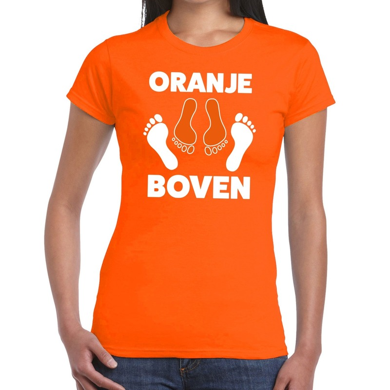 Koningsdag t-shirt oranje boven voor dames
