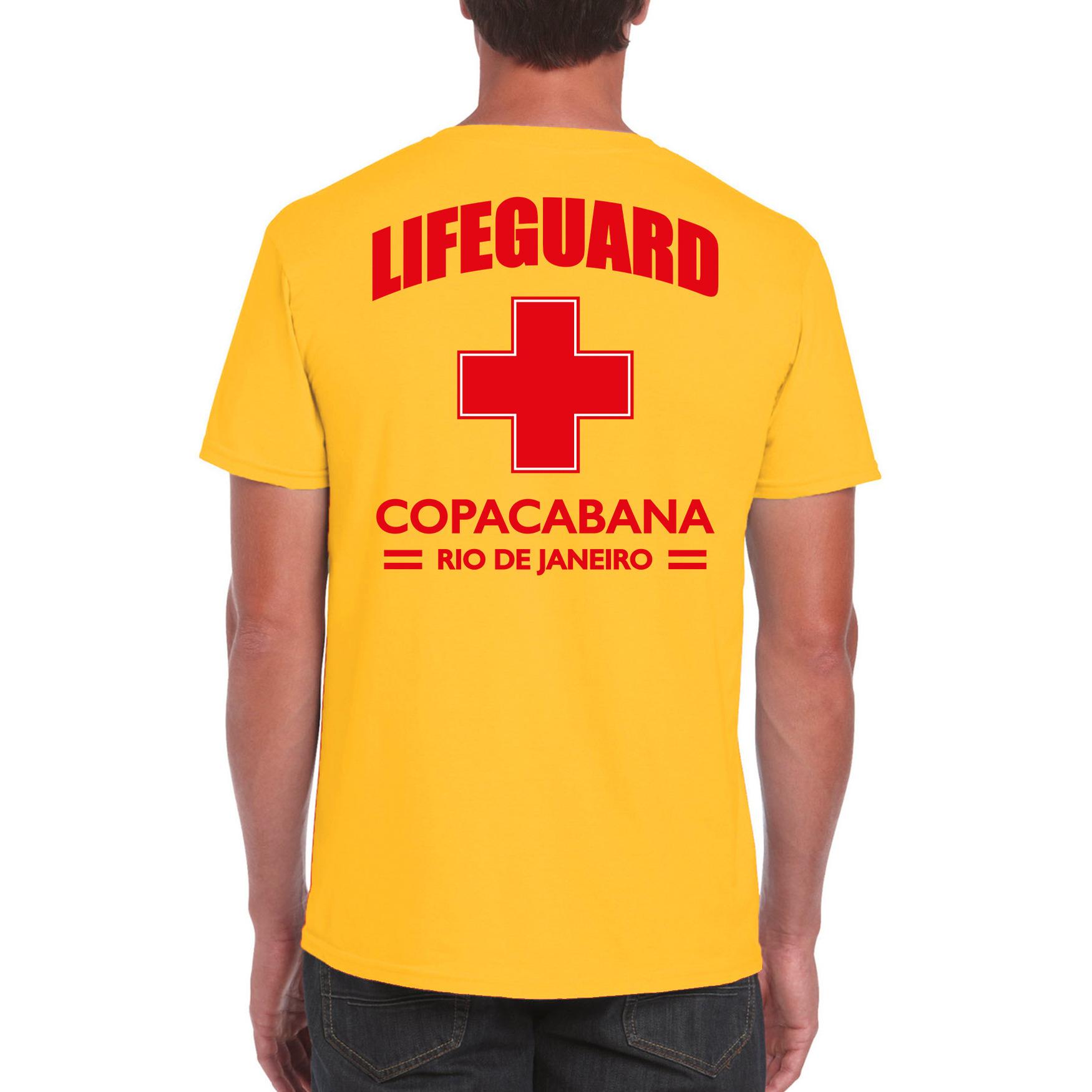 Lifeguard/ strandwacht verkleed t-shirt - shirt Lifeguard Copacabana Rio De Janeiro geel voor heren
