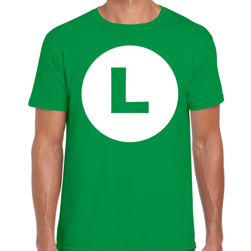 Luigi loodgieter verkleed t-shirt groen voor heren