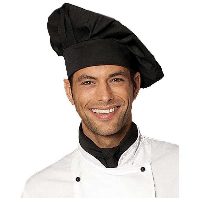 Luxe chefkok koksmuts zwart voor volwassenen