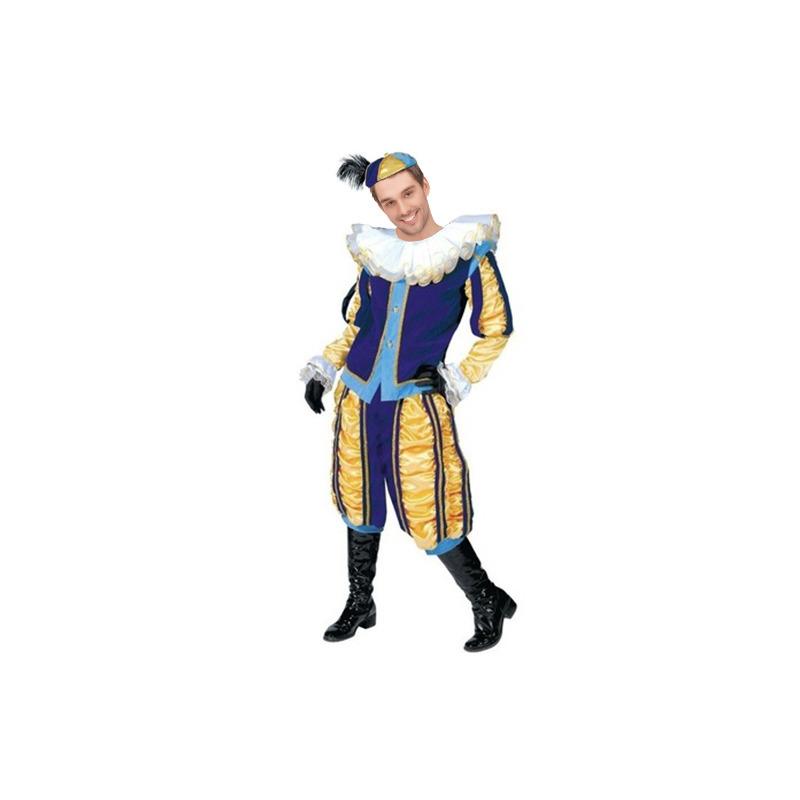 Luxe roetveeg Pieten kostuum geel/blauw voor dames en heren