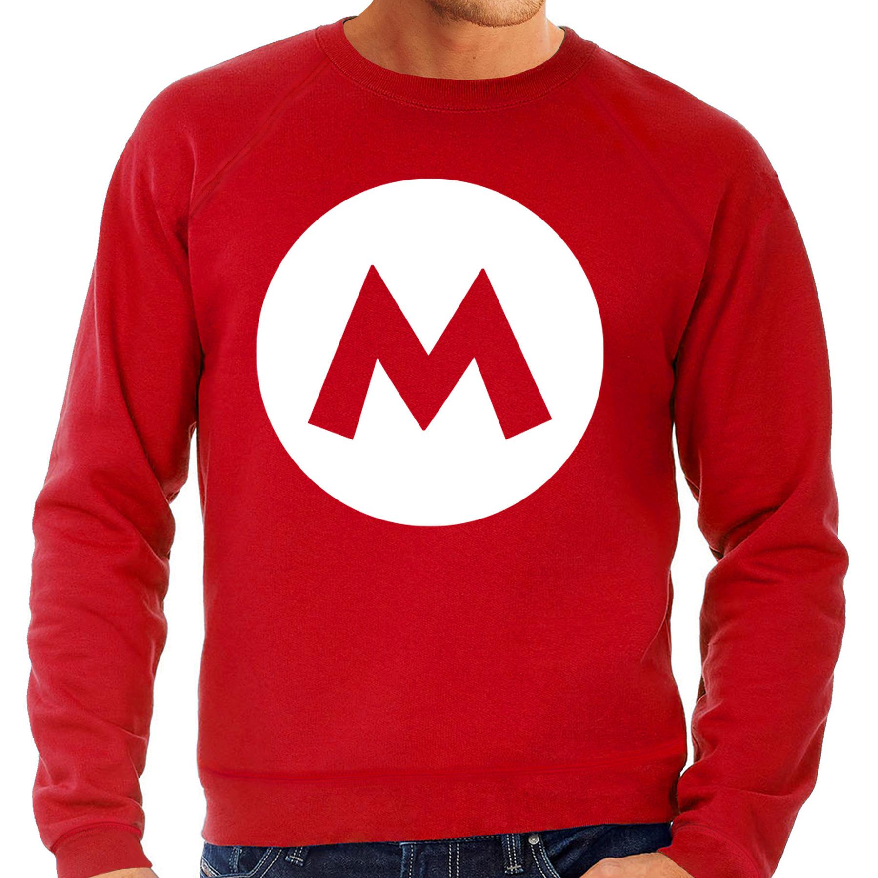 Mario loodgieter verkleed sweater rood voor heren