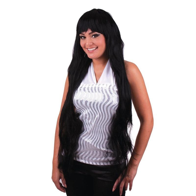 Meta kostuum Damespruik lang zwart steil haar met pony
