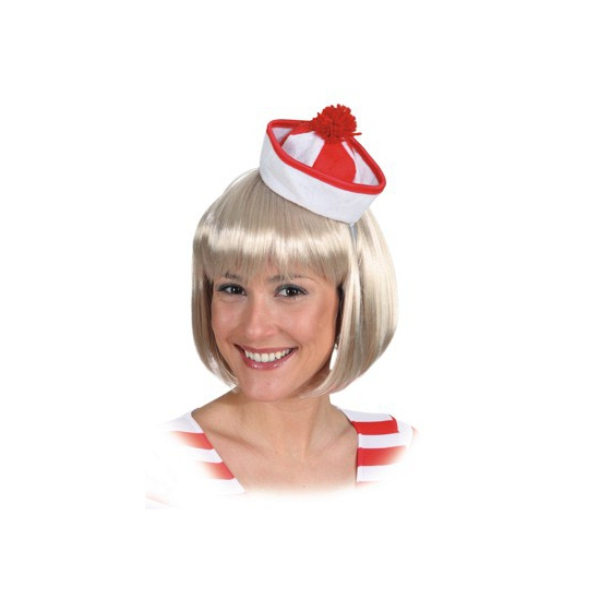 Mini matrozen hoedje rood/wit