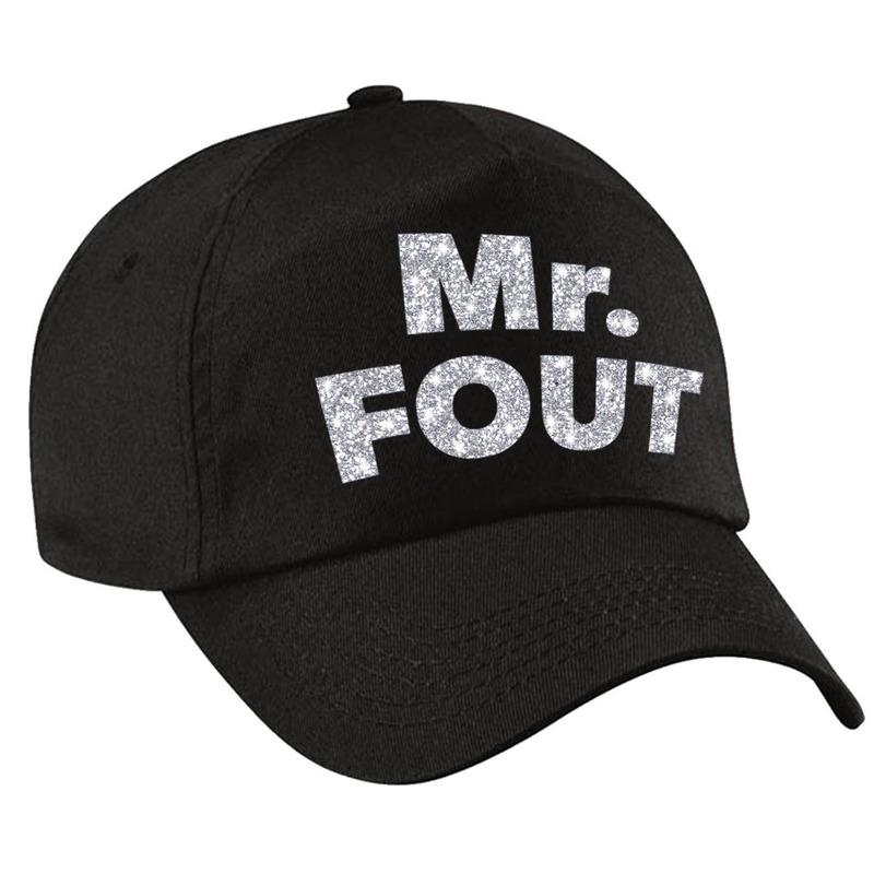 Mr. FOUT pet /cap zwart met zilver bedrukking heren