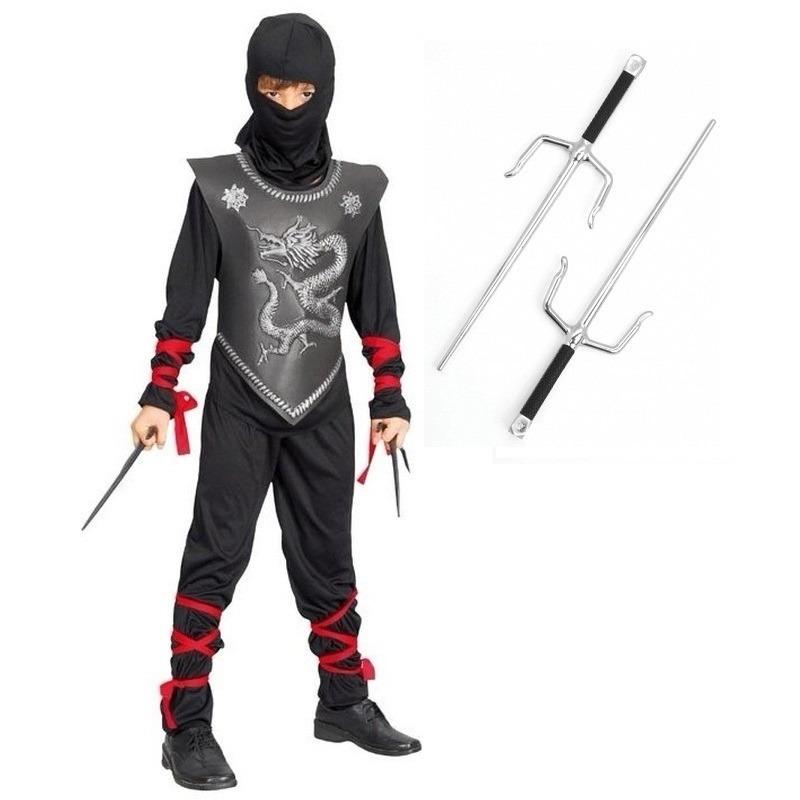Ninja kostuum maat S met dolken voor kinderen
