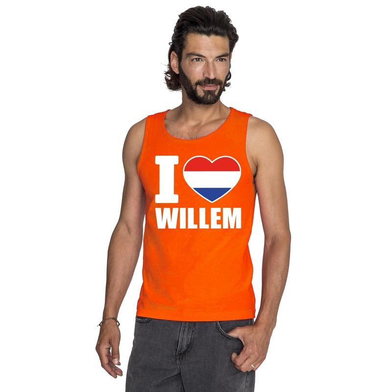 Oranje I love Willem tanktop heren