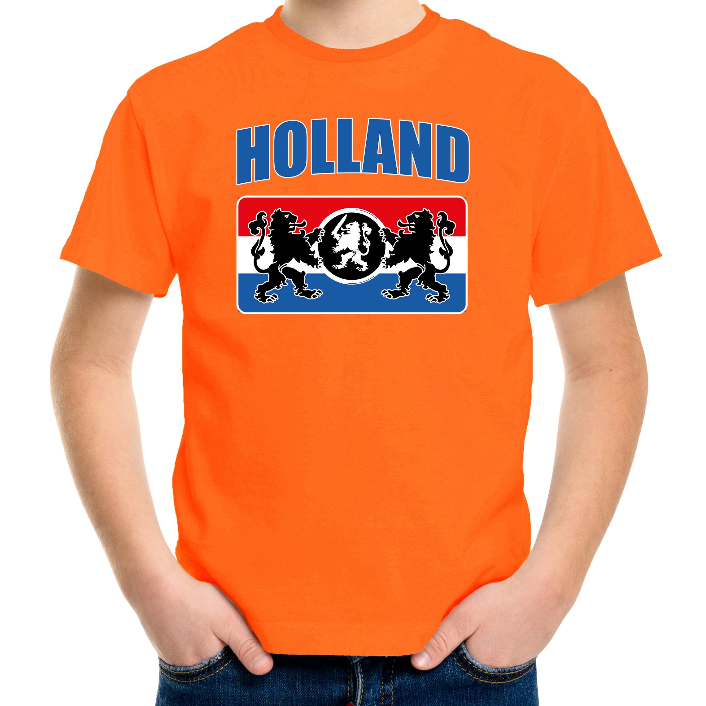 Oranje t-shirt Holland - Nederland supporter Holland met een Nederlands wapen EK/ WK voor kinderen