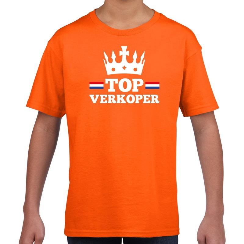 Oranje Top verkoper met kroontje t-shirt kinderen