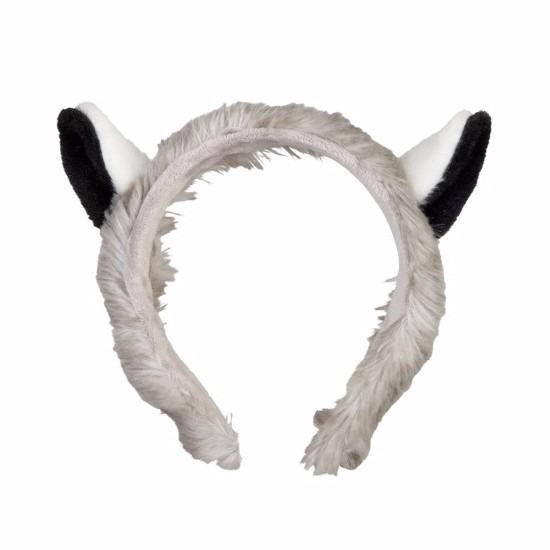 Pluche maki aapjes hoofdband met oortjes15 cm