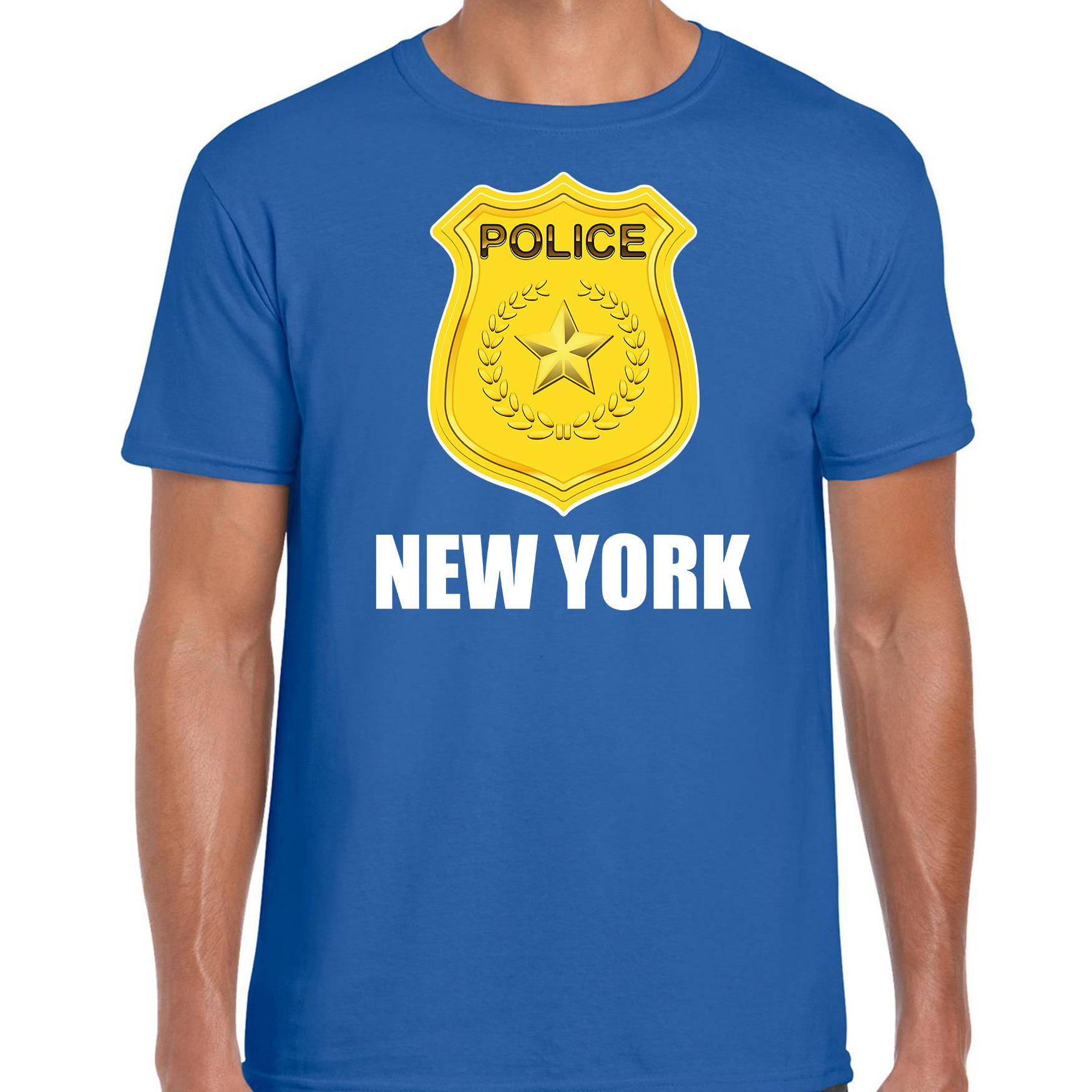 Police - politie embleem New York verkleed t-shirt blauw voor heren