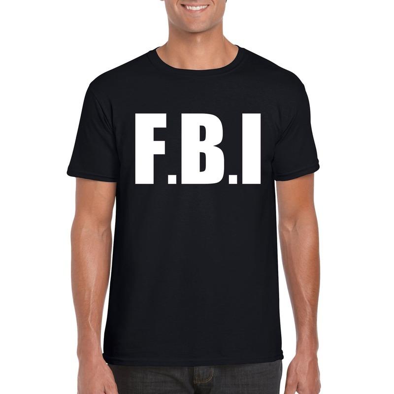 Politie FBI tekst t-shirt zwart heren