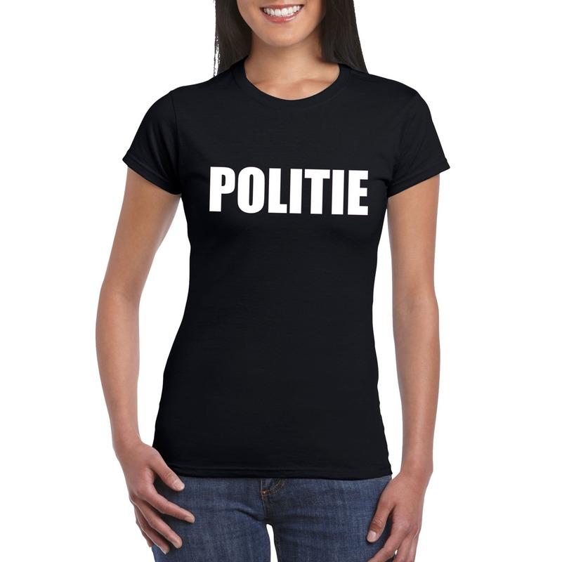 Politie tekst t-shirt zwart dames
