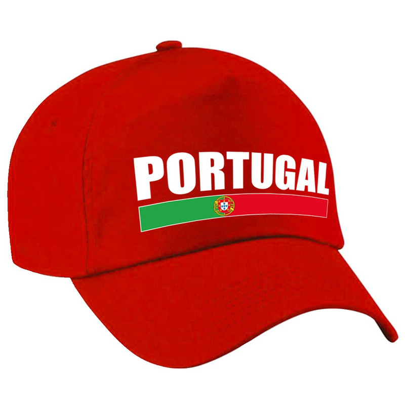 Portugal supporter pet  - cap Portugal rood volwassenen