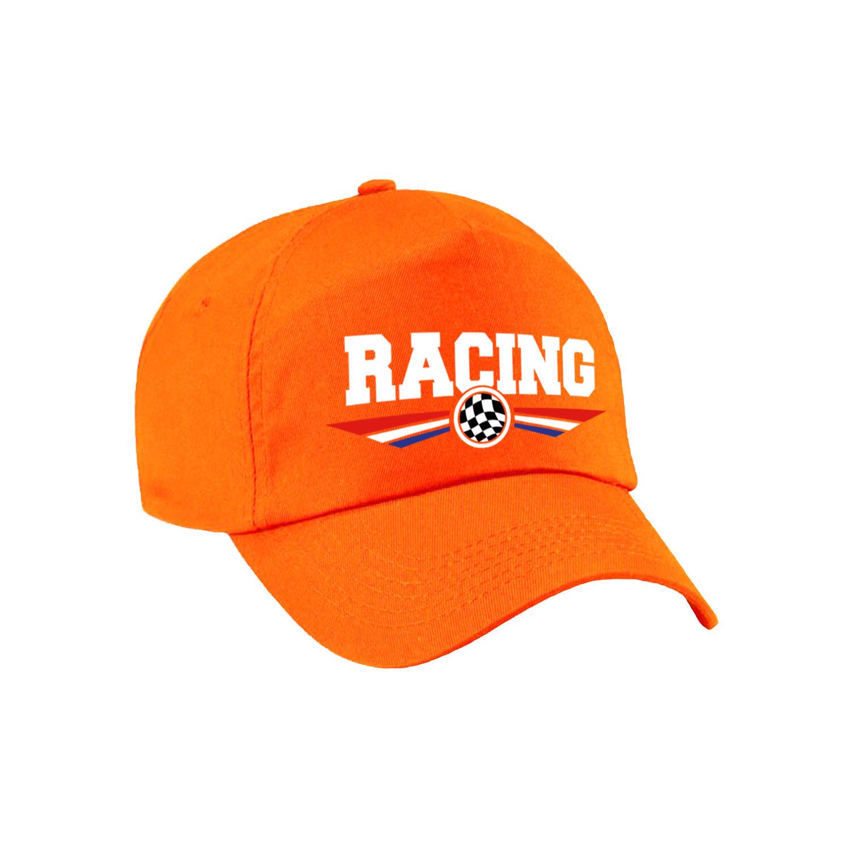 Racing coureur supporter pet - baseball cap met Nederlandse vlag oranje voor volwassenen