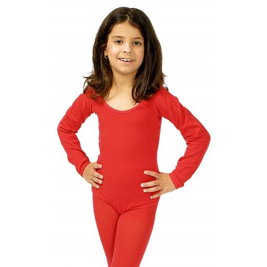 Rode verkleed bodysuit lange mouwen voor meisjes