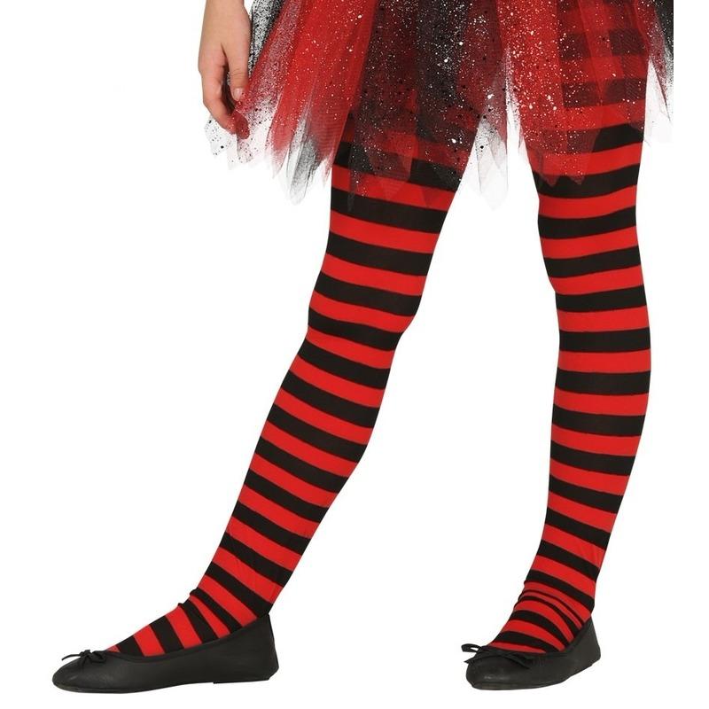 Rood/zwart gestreepte panty 15 denier voor meisjes