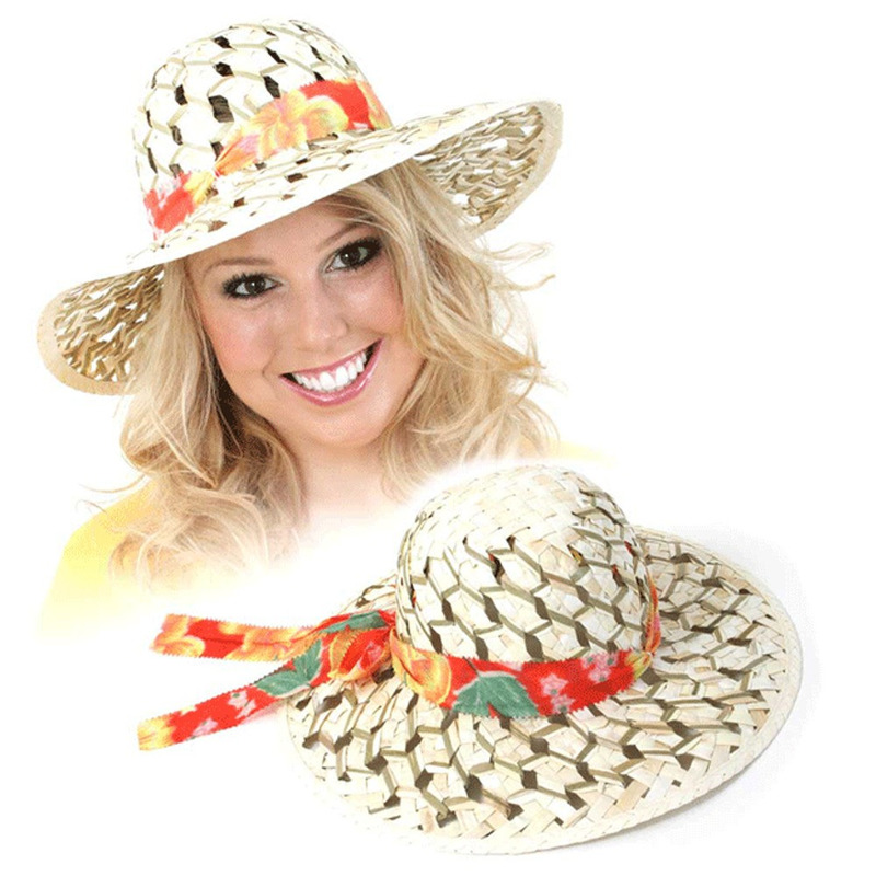 Stro hoeden met gekleurde band