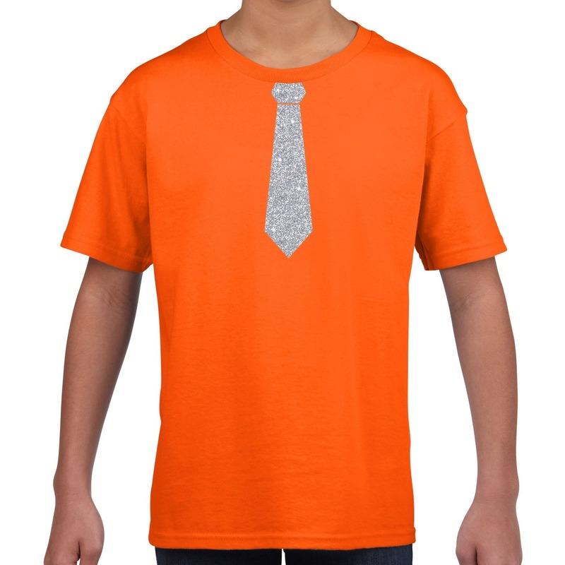 Stropdas zilver glitter t-shirt oranje voor kinderen