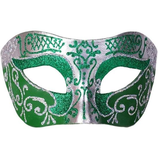 Venetiaans glitter oogmasker groen/zilver