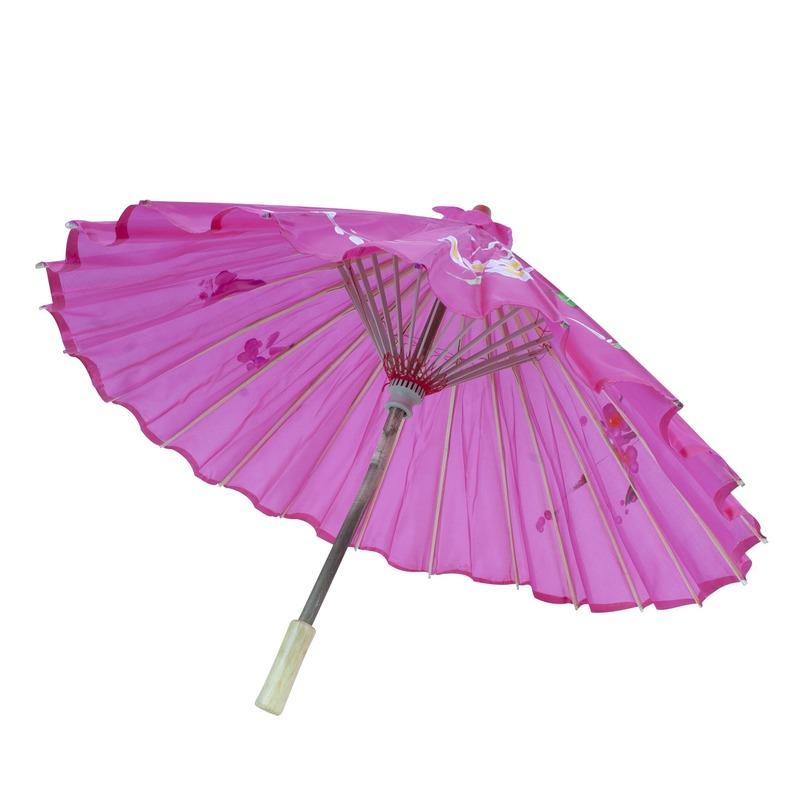 Verkleed Chinese paraplu roze met bloemen