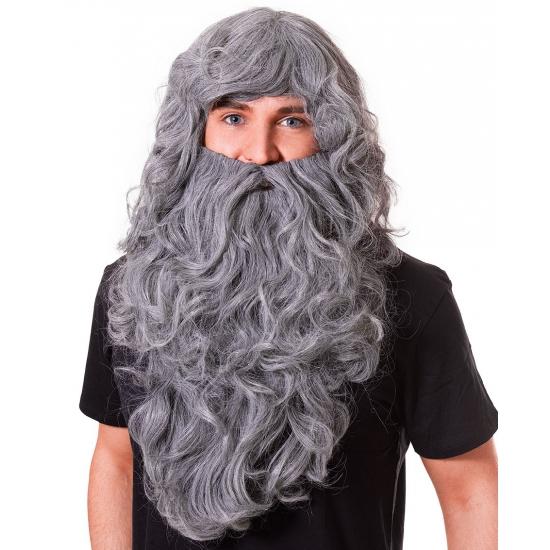 Verkleed Grote grijze baard met pruik