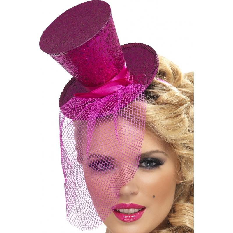 Verkleed Mini hoge hoed op diadeem roze