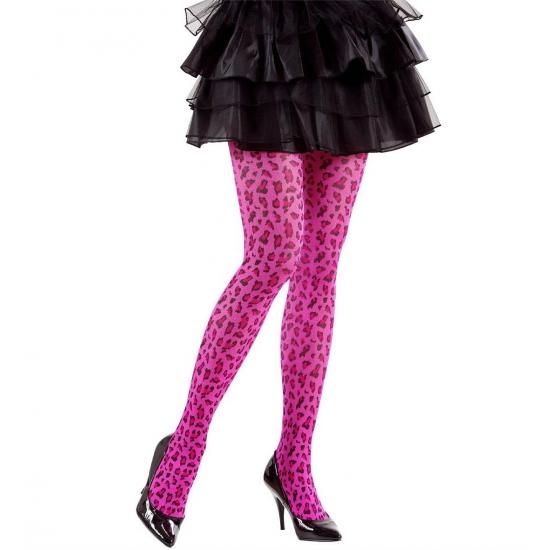 Verkleed Neon roze panty met luipaard print