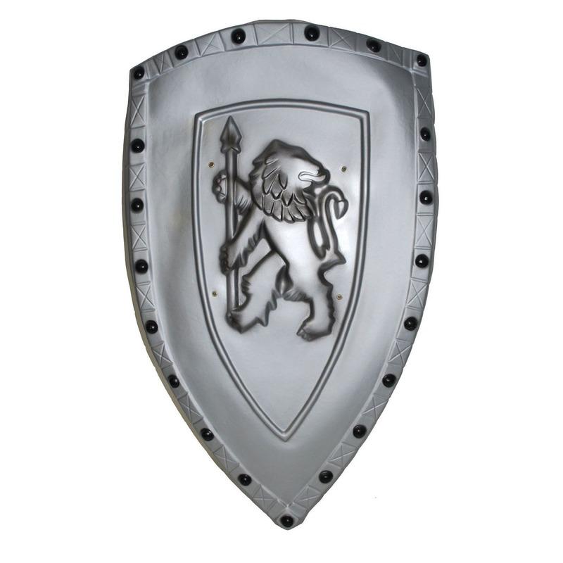 Verkleed Ridder schild zilver met leeuw
