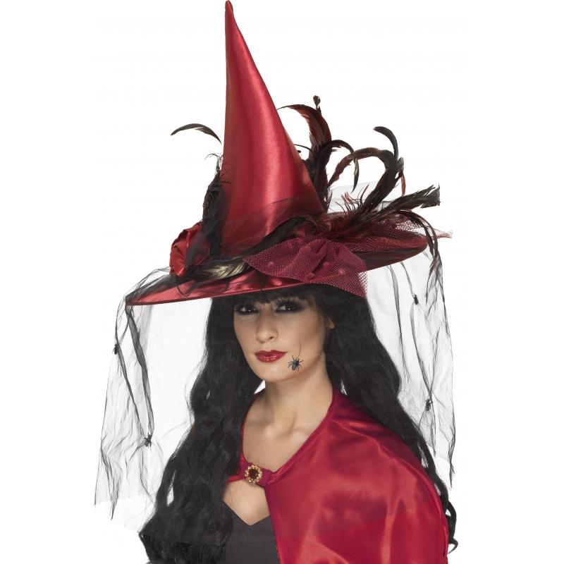 Verkleed Rode heksen hoed met veren